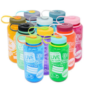 up with people nalgene water bottles in multiple colors