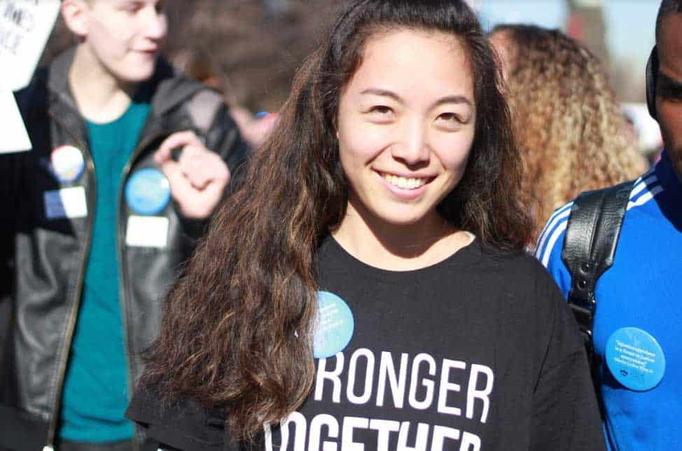 Momo from Japan marching in the MLK Jr Parade in Up with People