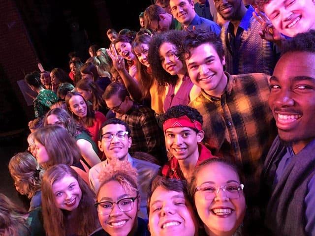 Gap year students taking a selfie